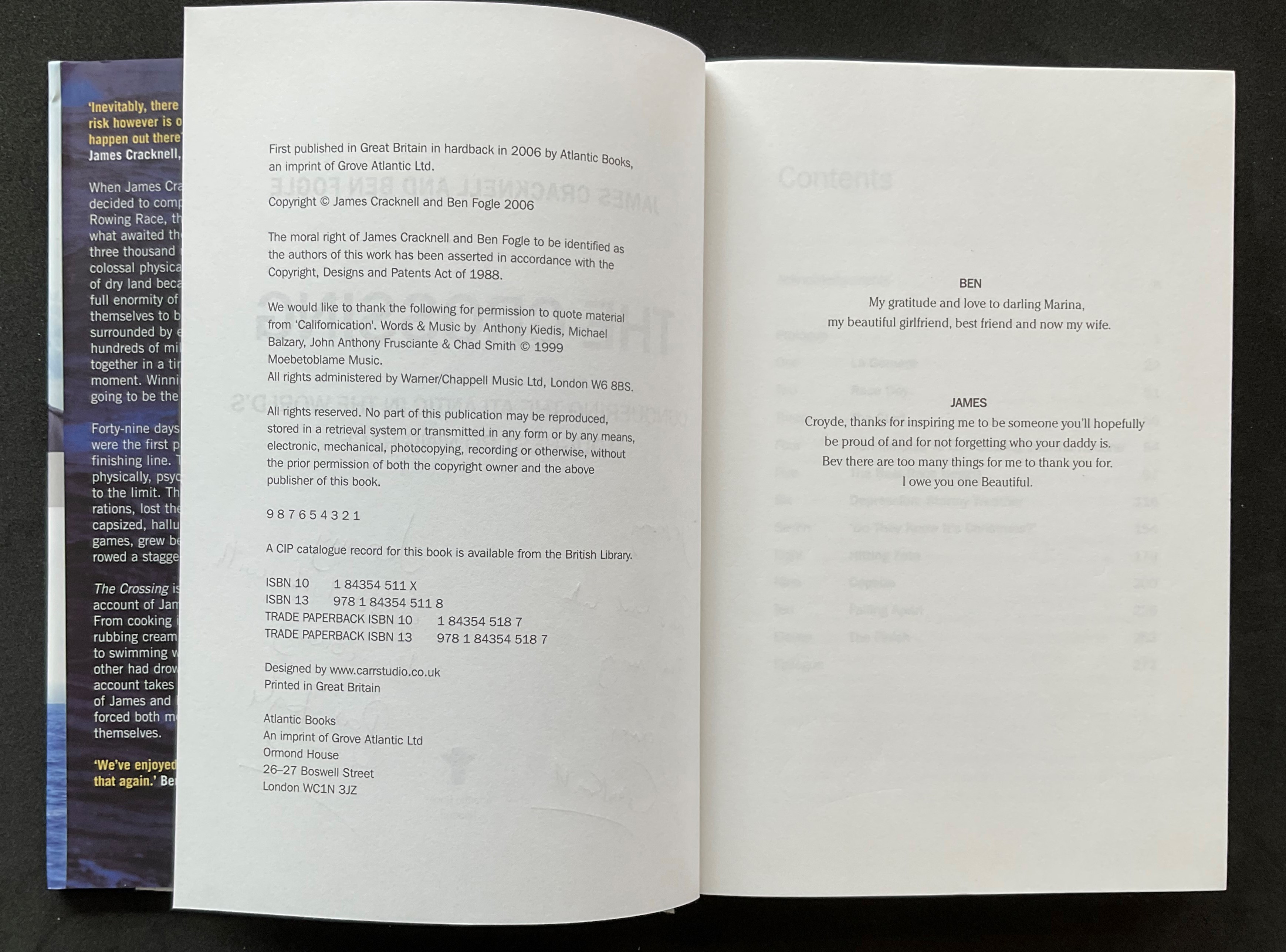 Athlete James Cracknell and Broadcaster Ben Fogles book The Crossing, signed hardback copy, - Image 3 of 3