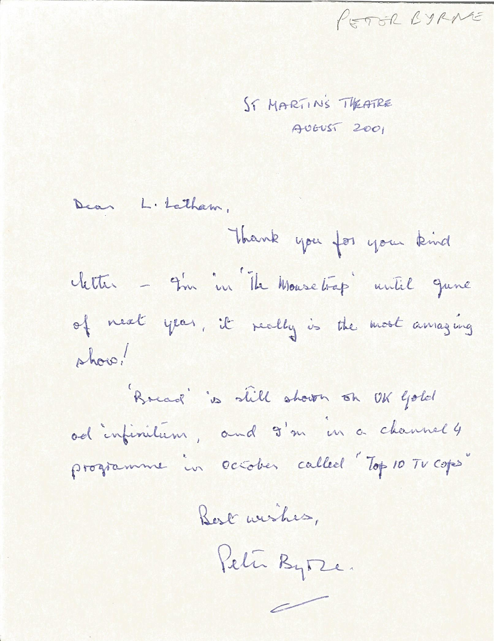 Actor Peter Byrne signed handwritten letter advising his current work commitments. Peter James Byrne