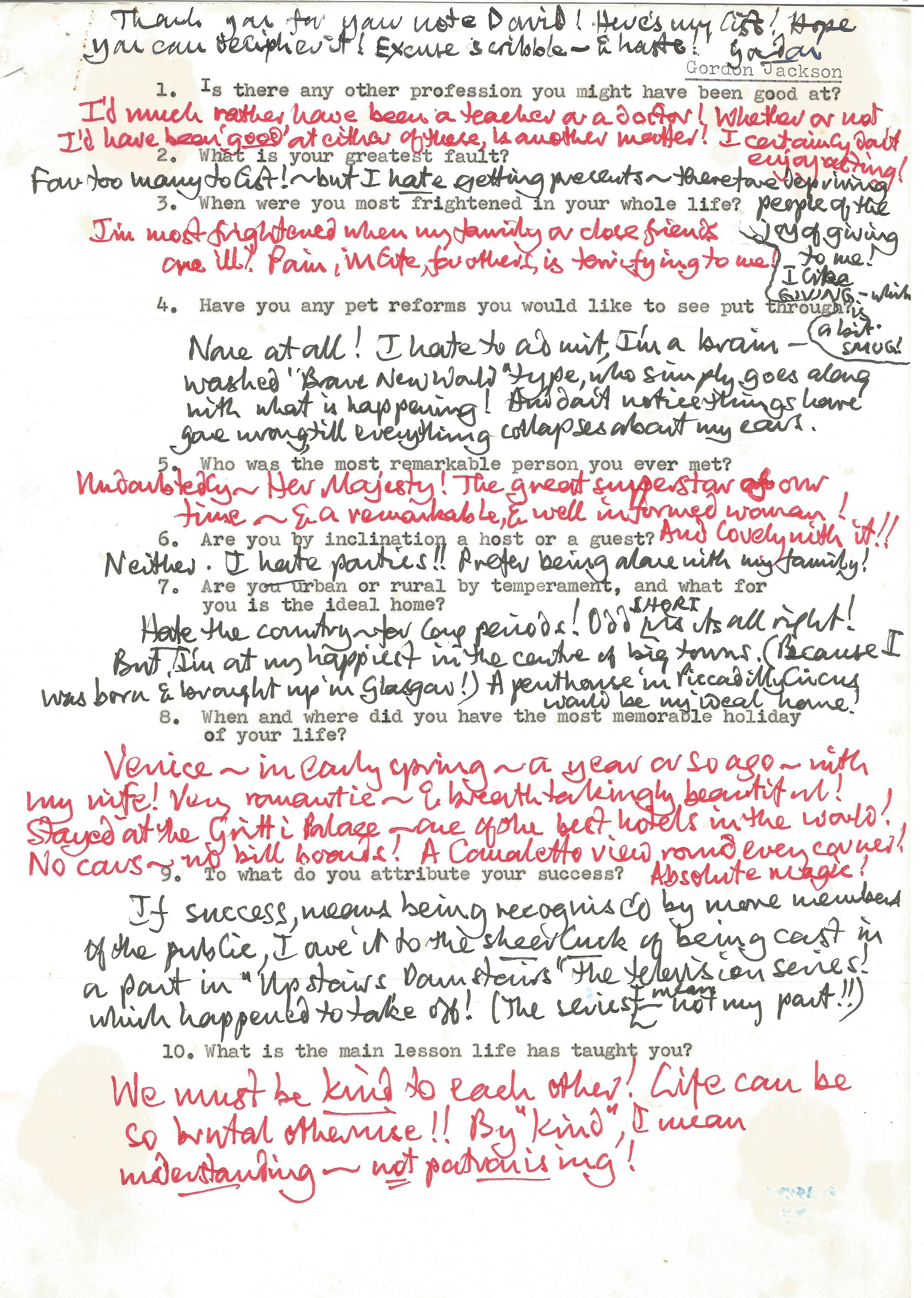 Actor Gordon Jackson, interesting and detailed handwritten replies on a questionnaire from a fan