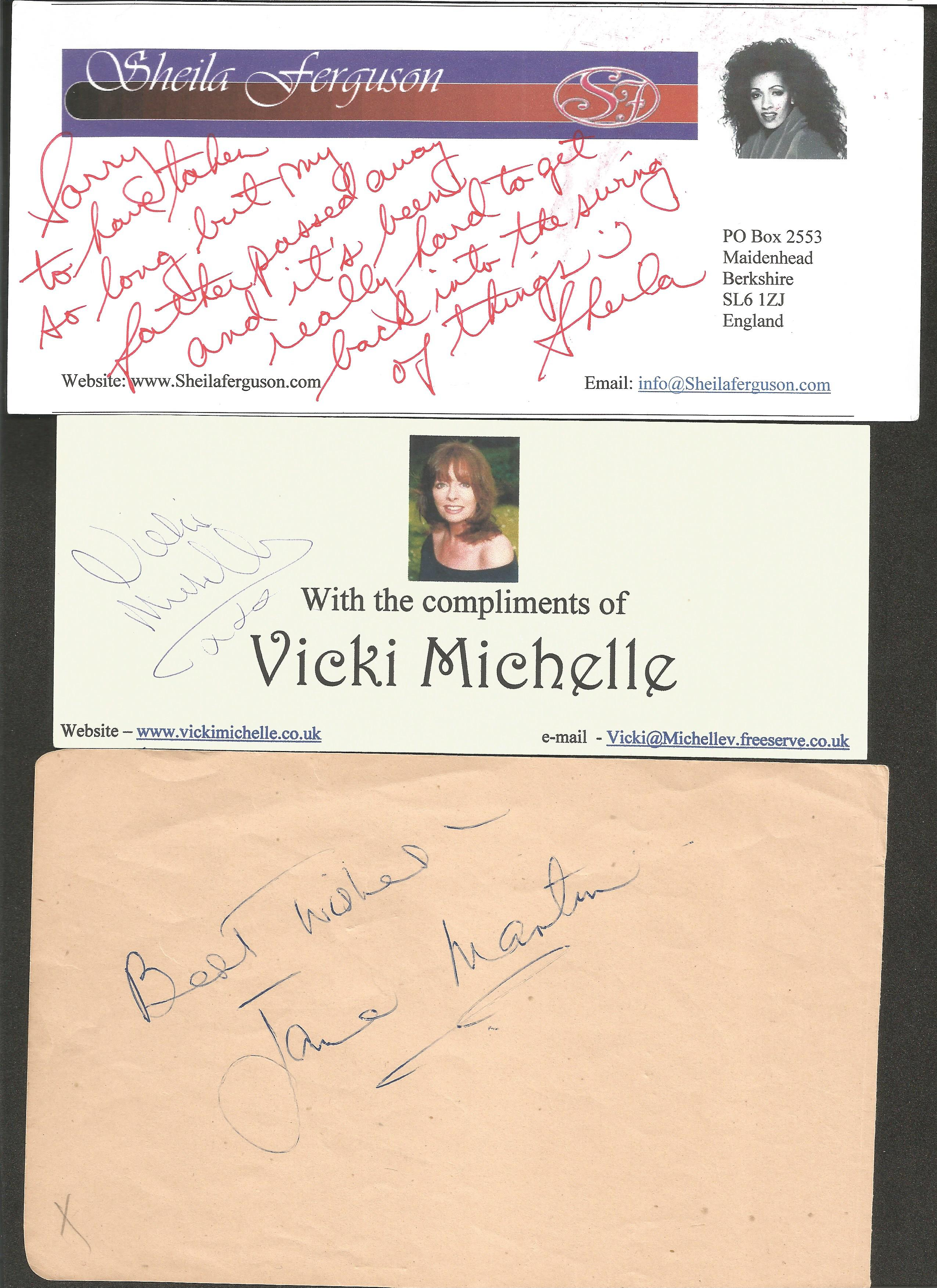 Entertainment signed collection Singer Sheila Ferguson, Vicki Michelle, Smith Brothers, Jane Martin