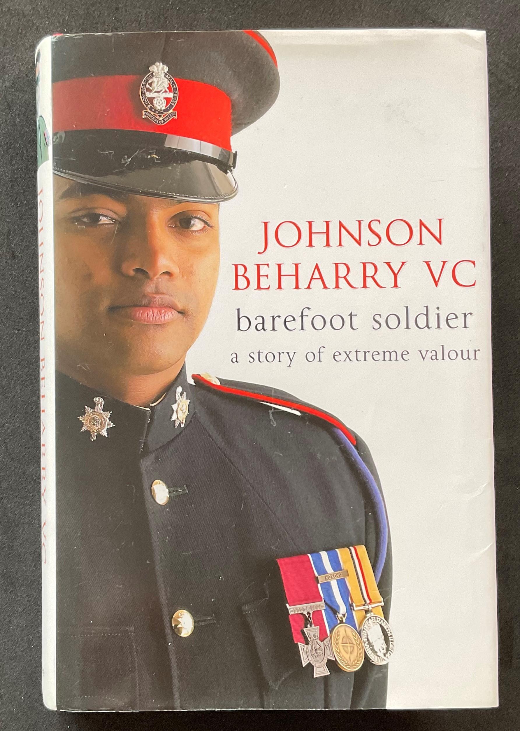 Colour Sergeant Johnson Beharry VCs autobiography Barefoot Soldier signed hardback copy. Colour