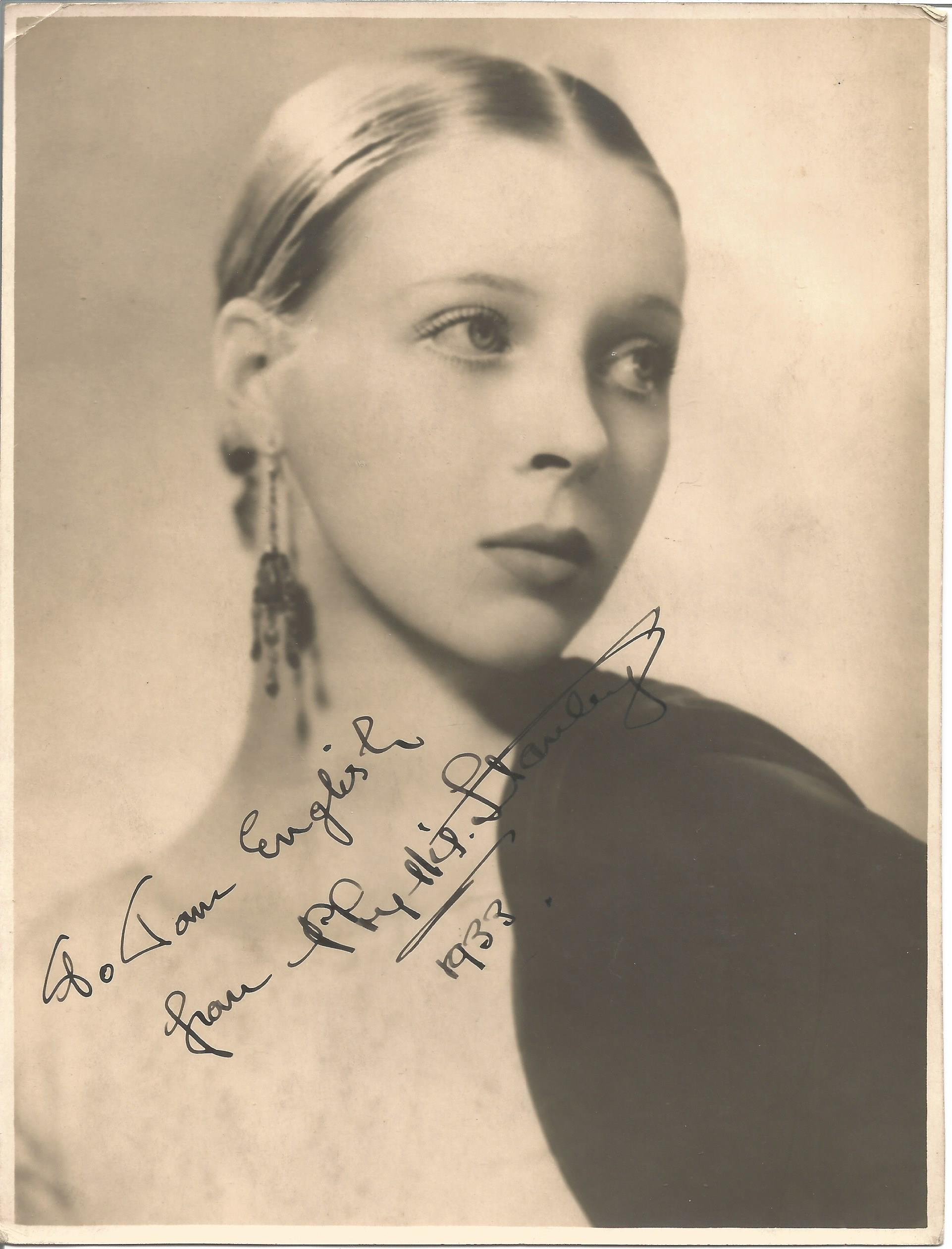 Actress Phyllis Stanley signed 8x6 vintage black and white photo, signed and dated 1933, dedicated