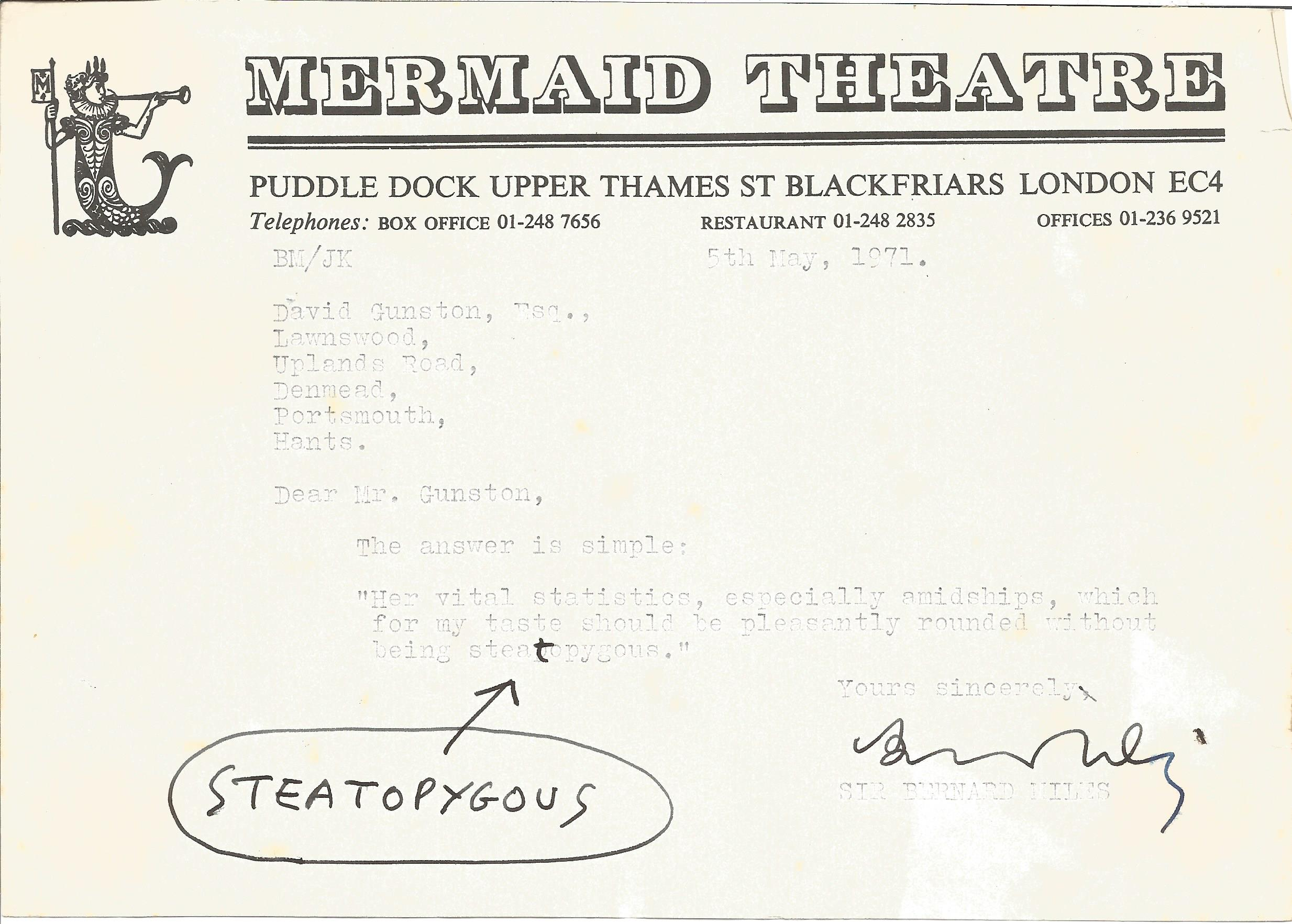 Actor Bernard Miles signed headed paper of the Mermaid Theatre London which he founded with a