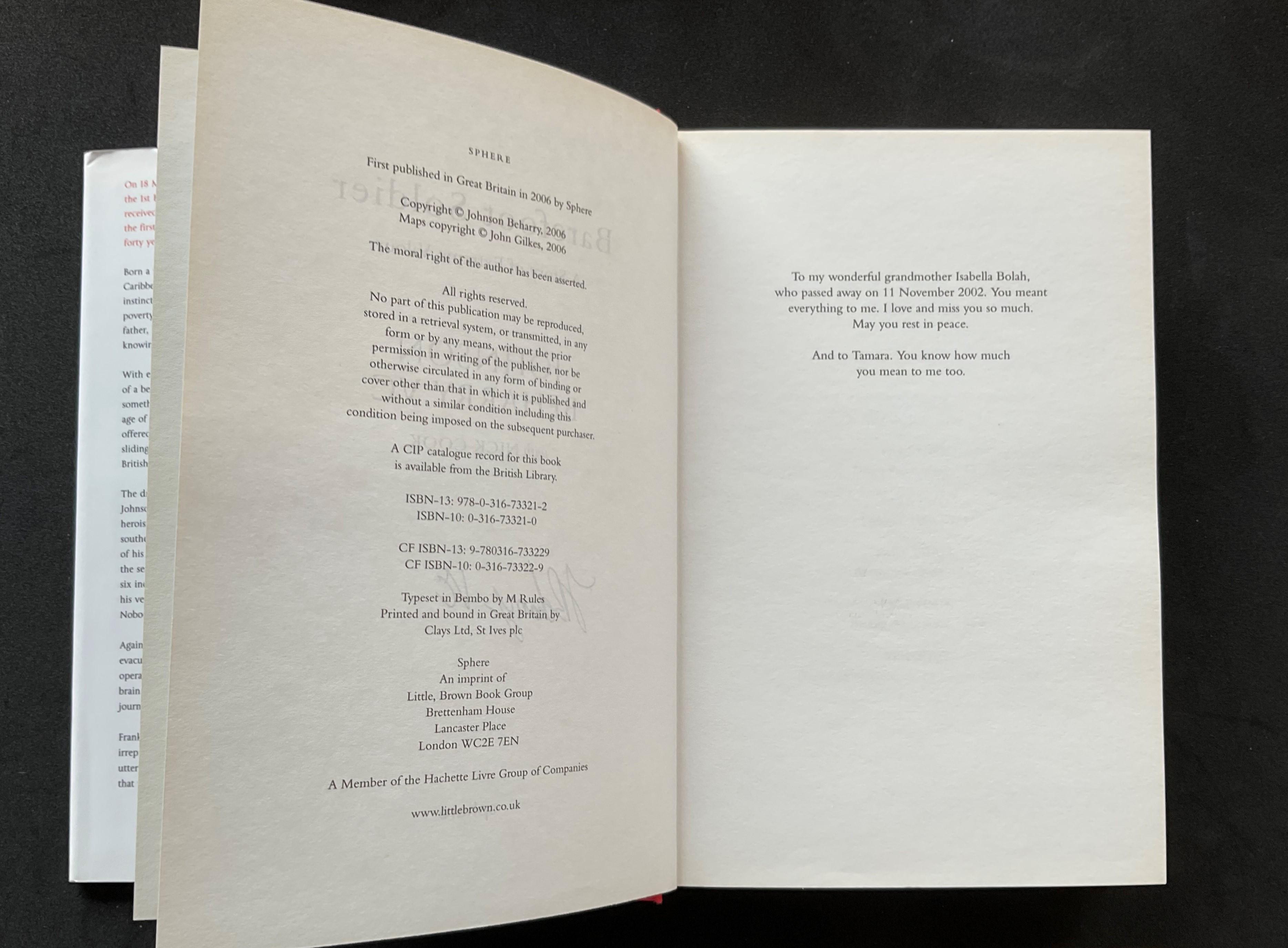 Colour Sergeant Johnson Beharry VCs autobiography Barefoot Soldier signed hardback copy. Colour - Image 3 of 3
