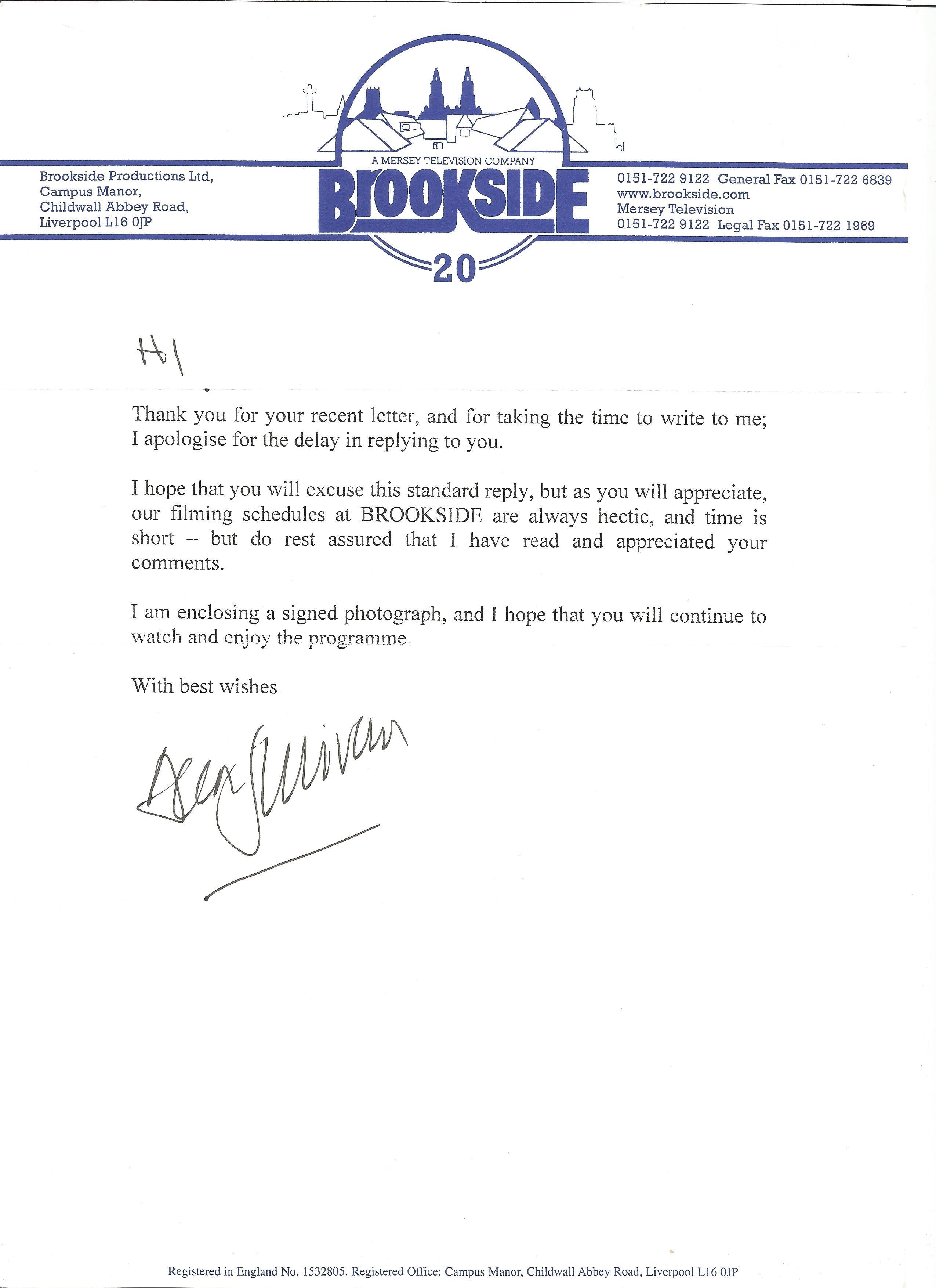 Soap Actors signed letters Andrew Larkin, Bill Tarmey, Dean Sullivan, Tracie Bennett, Isabel Home - Image 4 of 4