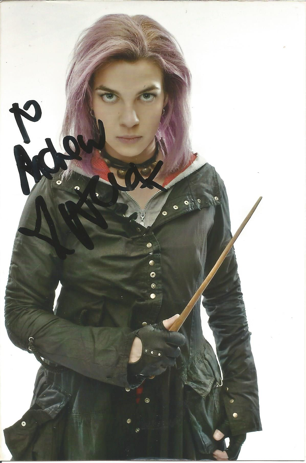 Actress Natalia Tena signed 6x4 in character as Nymphadora Tonks from the Harry Potter film series