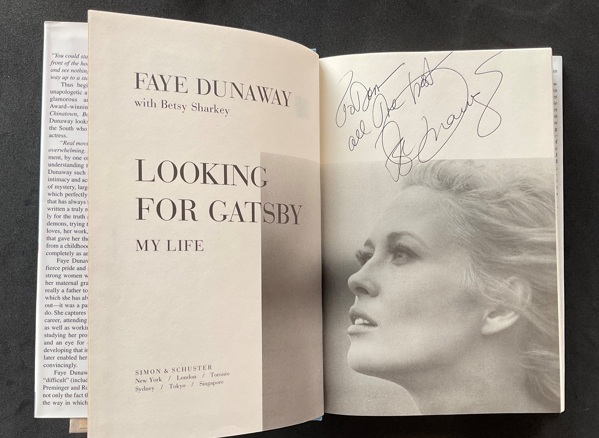 Actress Faye Dunaways autobiography Looking for Gatsby, signed and dedicated to Don. Dorothy Faye - Image 2 of 3