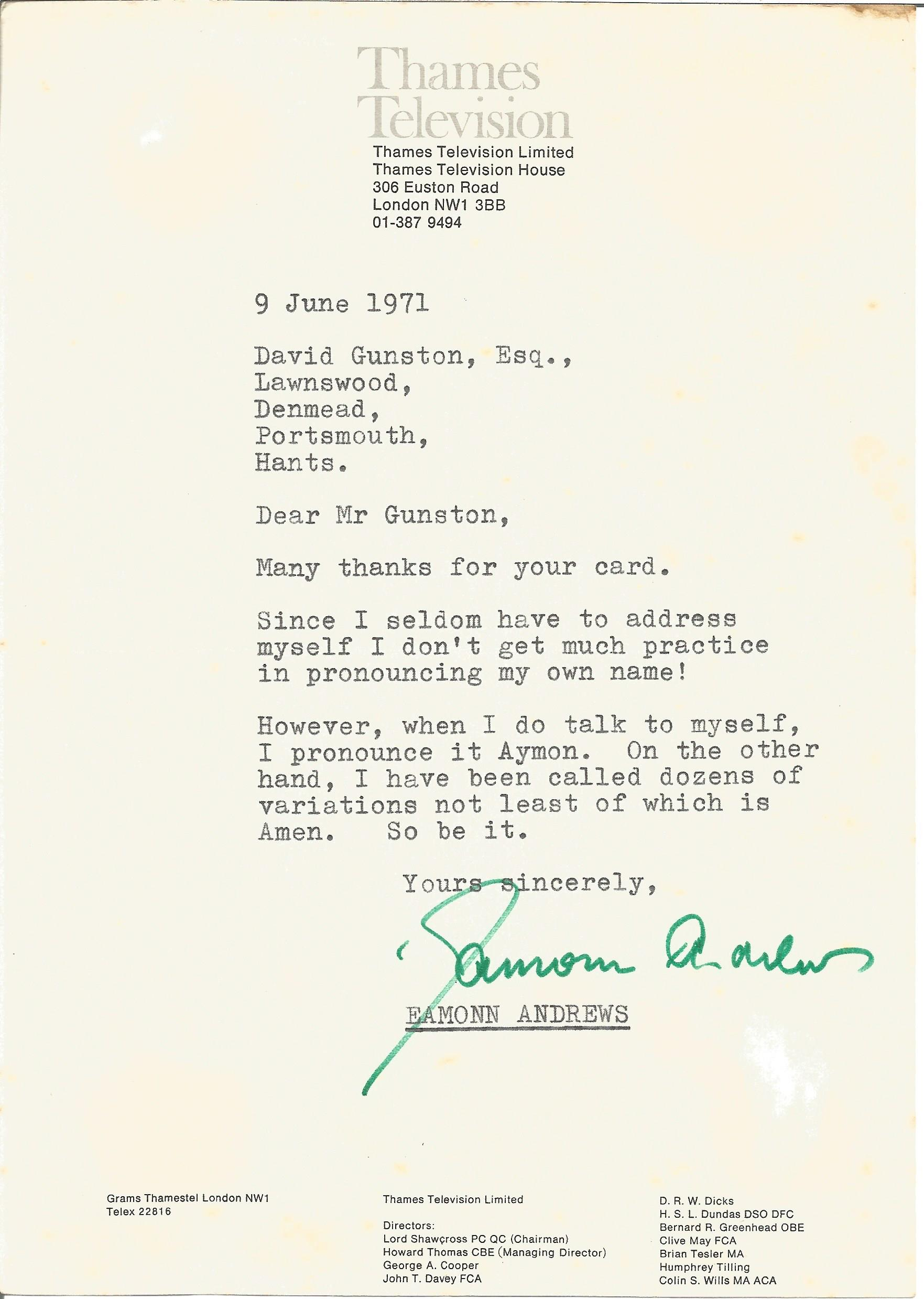 Presenter Eamonn Andrews signed letter on Thames Television headed paper regarding the pronunciation