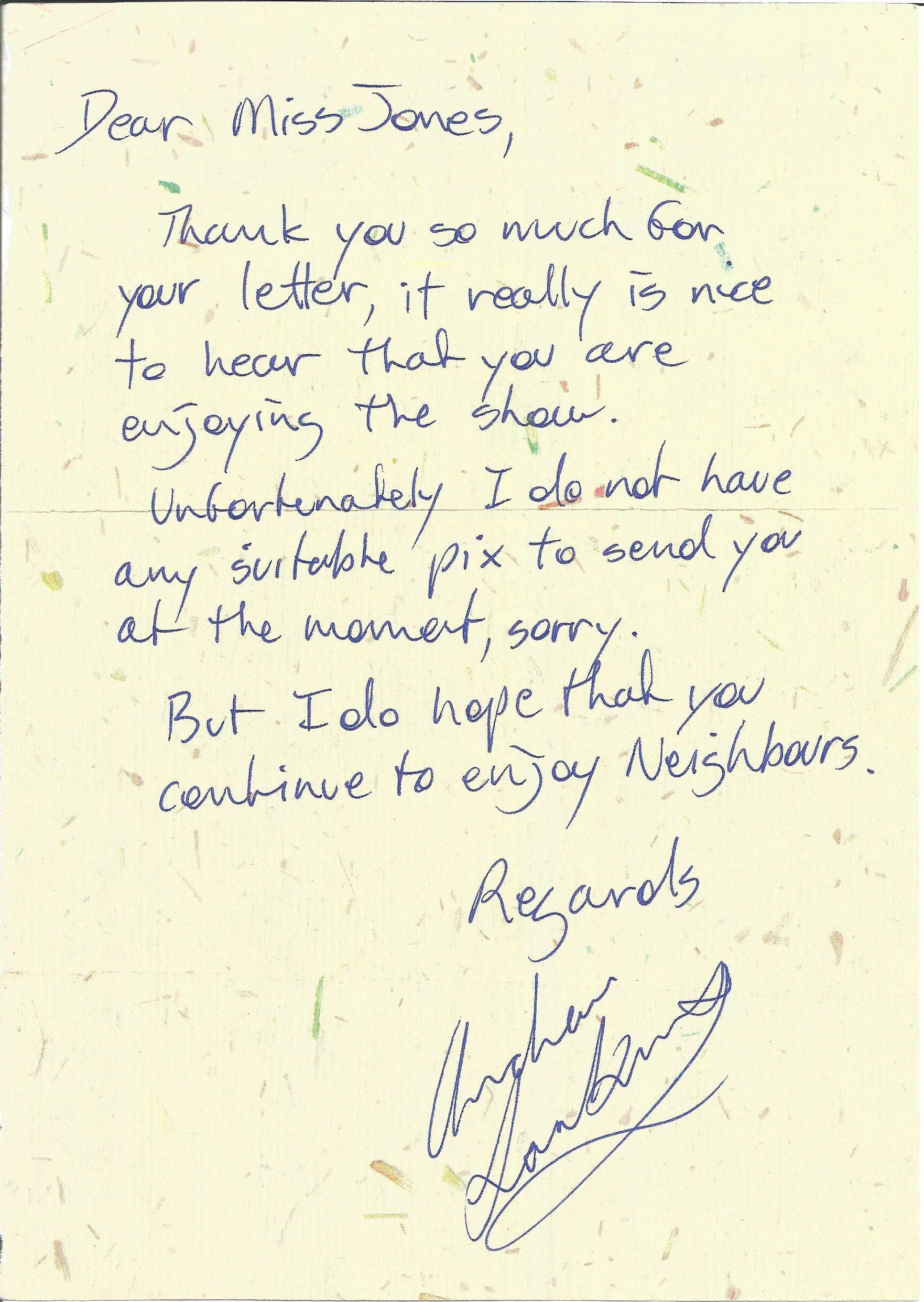 Soap Actors signed letters Andrew Larkin, Bill Tarmey, Dean Sullivan, Tracie Bennett, Isabel Home