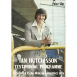 Footballer Ian Hutchinson signature on paper attached to a large format brochure for his testimonial