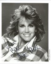 Actress Jane Fonda, signed 10x8 black and white photo, dedicated to John, inscribed Peace. Jane