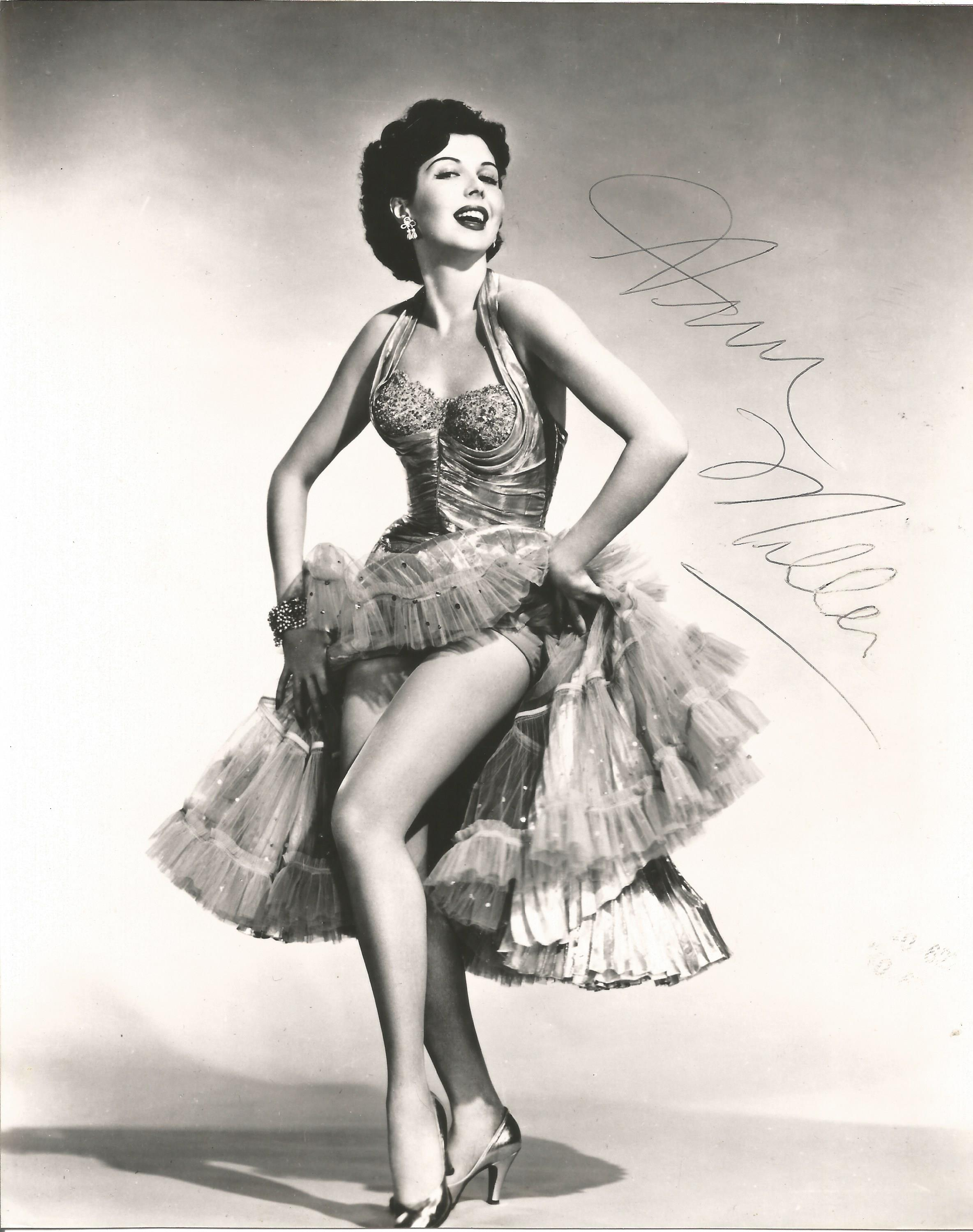 Actress Ann Miller signed 10x8 vintage black and white photo. Ann Miller was an American actress,
