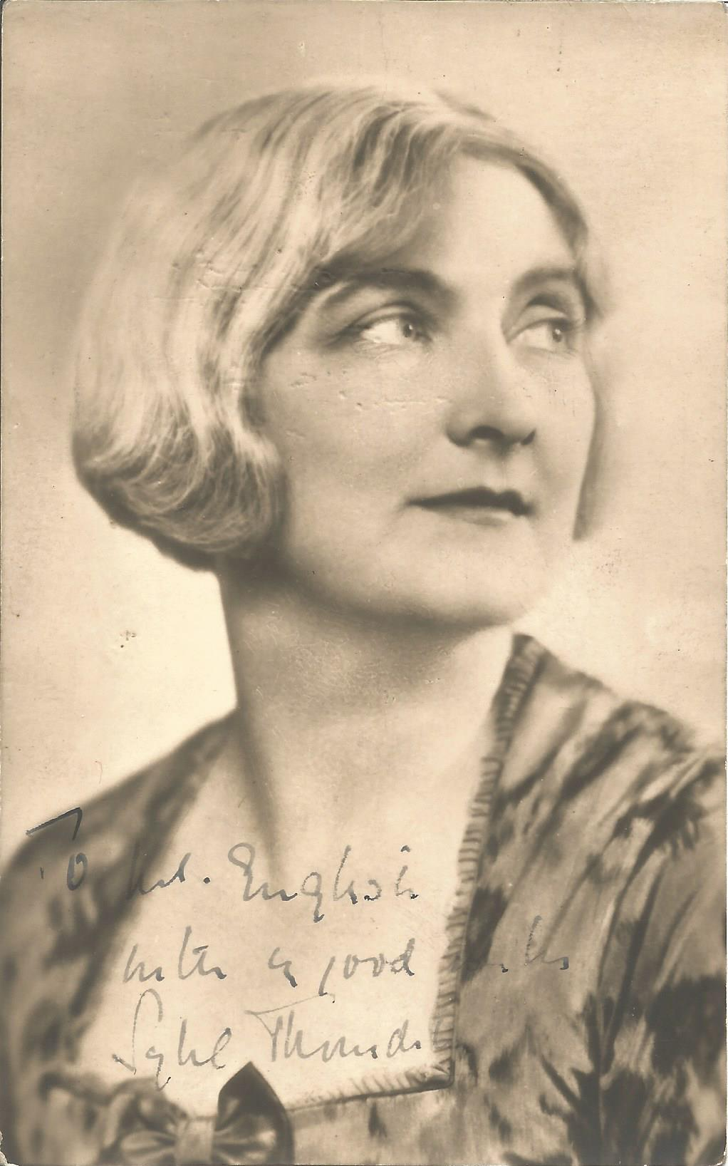 Actress Sybil Thorndyke vintage signed 5½x3½ photo, very early image, dedicated to Mr English.