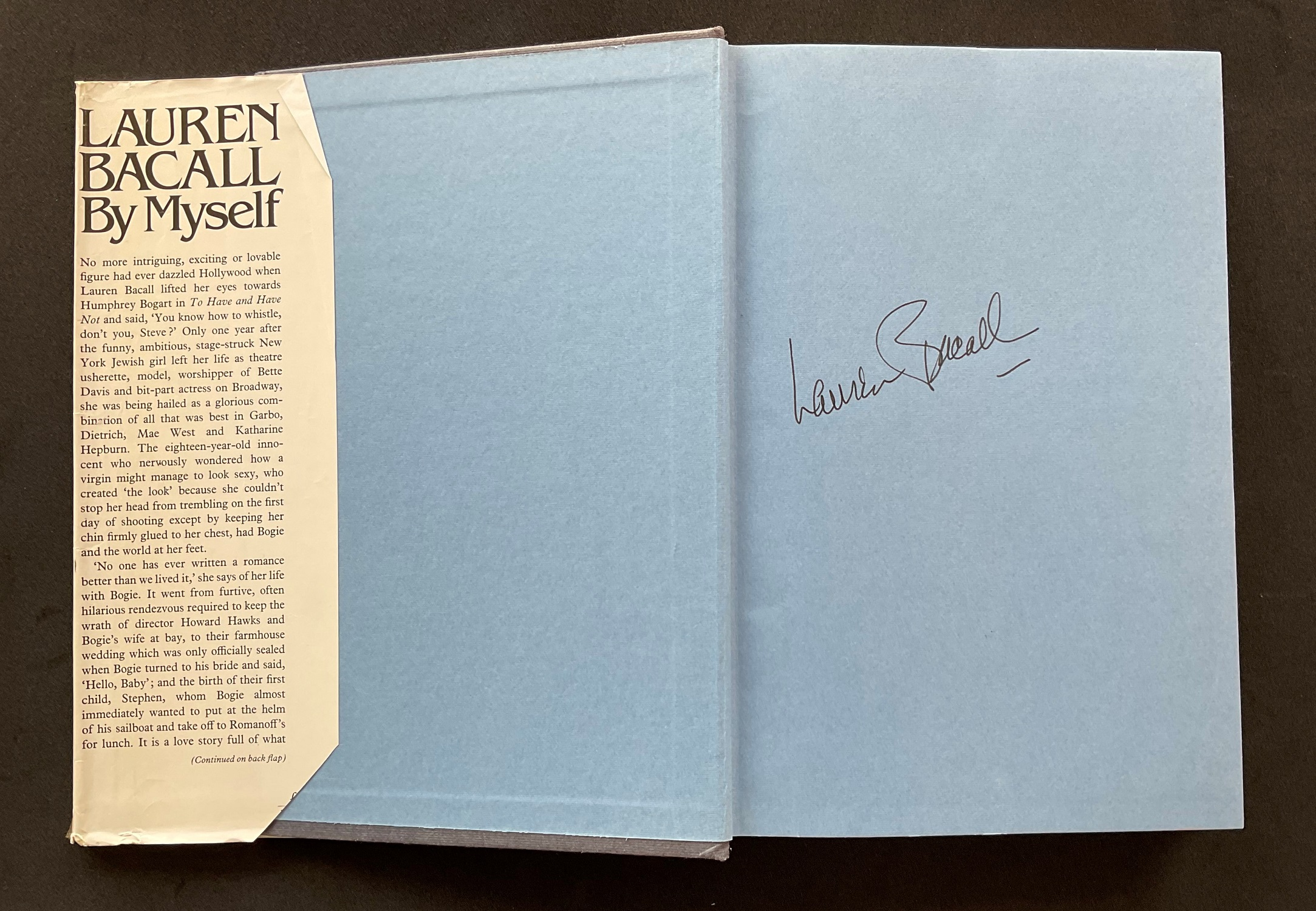 Actress Lauren Bacall's autobiography By I, signed on the first page, hardback copy, dust jacket a - Image 2 of 3