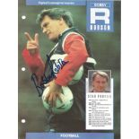 Footballer Bobby Robson signed 11 x 8½ colour magazine page with biography to verso. Sir Robert