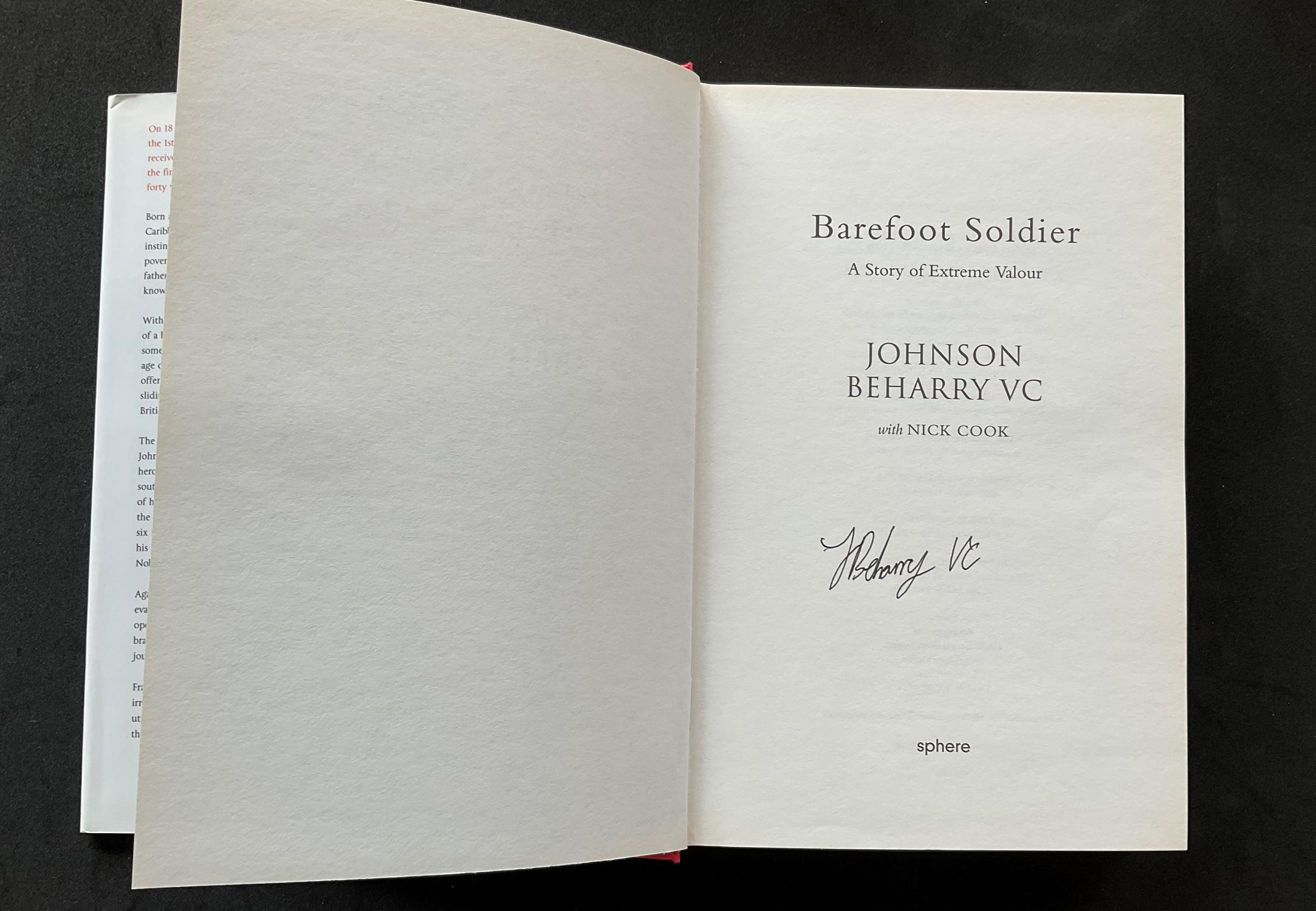 Colour Sergeant Johnson Beharry VCs autobiography Barefoot Soldier signed hardback copy. Colour - Image 2 of 3