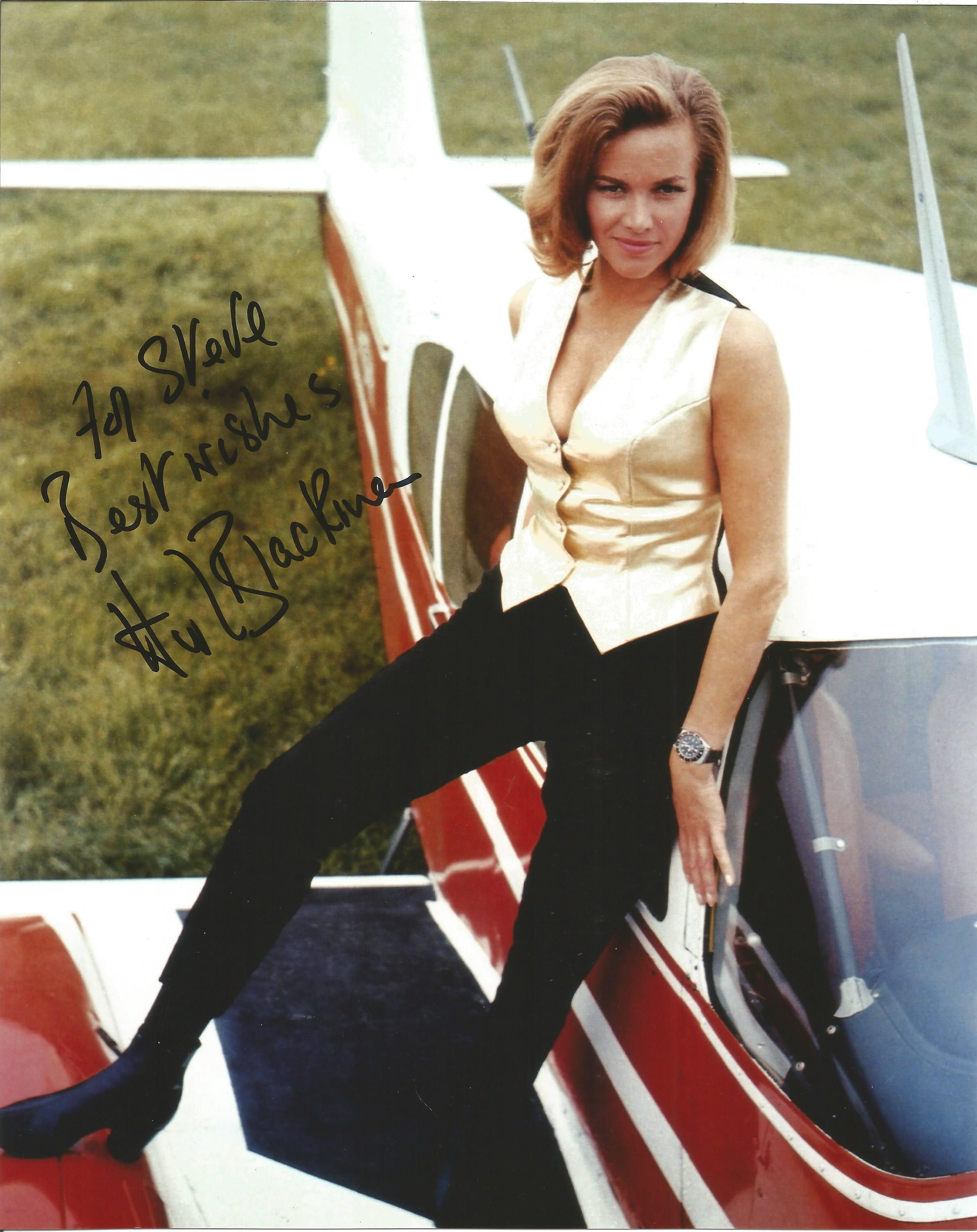Actress Honor Blackman 10x8 signed colour photo Goldfinger image, dedicated to Steve. Honor Blackman