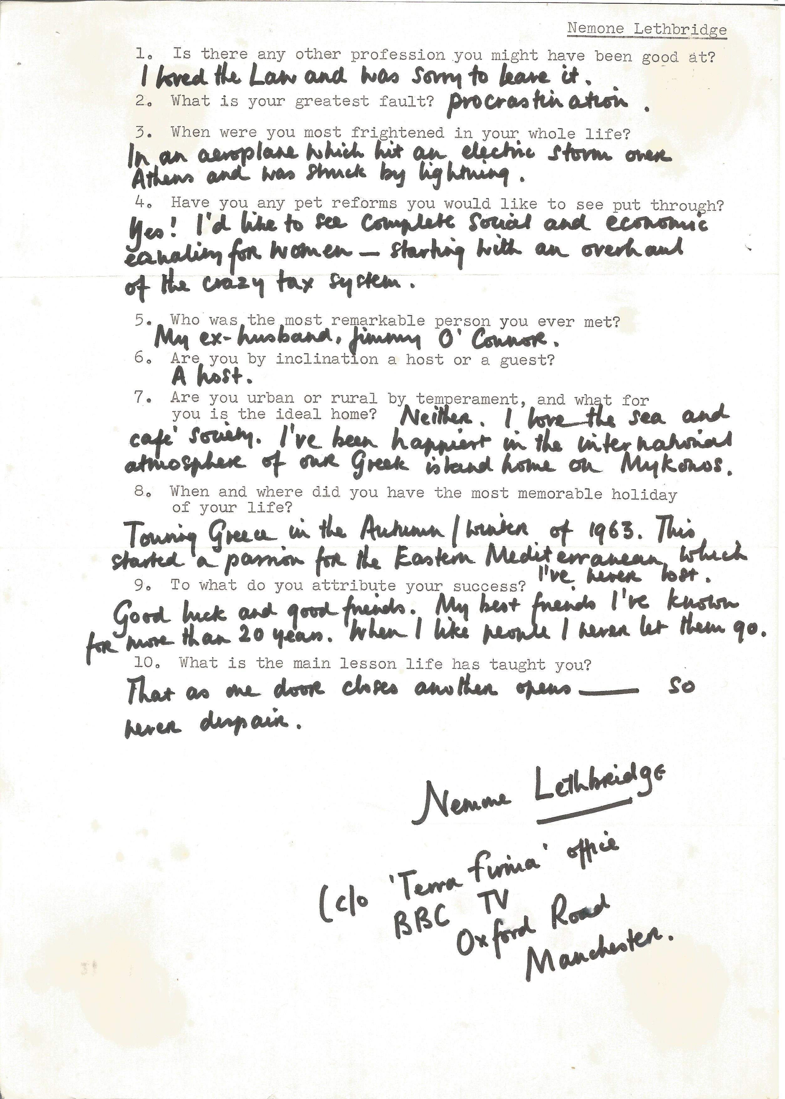 Playwright Barrister Nemone Lethbridge, handwritten replies on a questionnaire