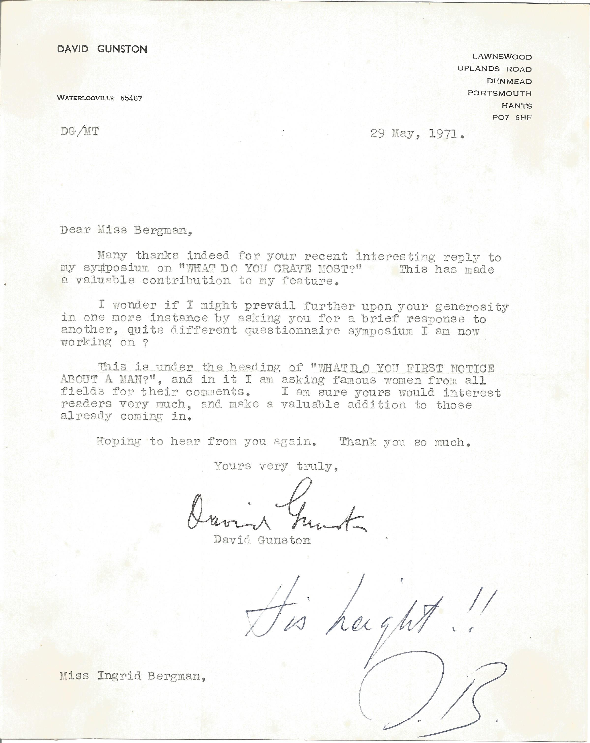 Actress Ingrid Bergman, a two-word response with her initials on a letter dated 29/5/71 from a fan