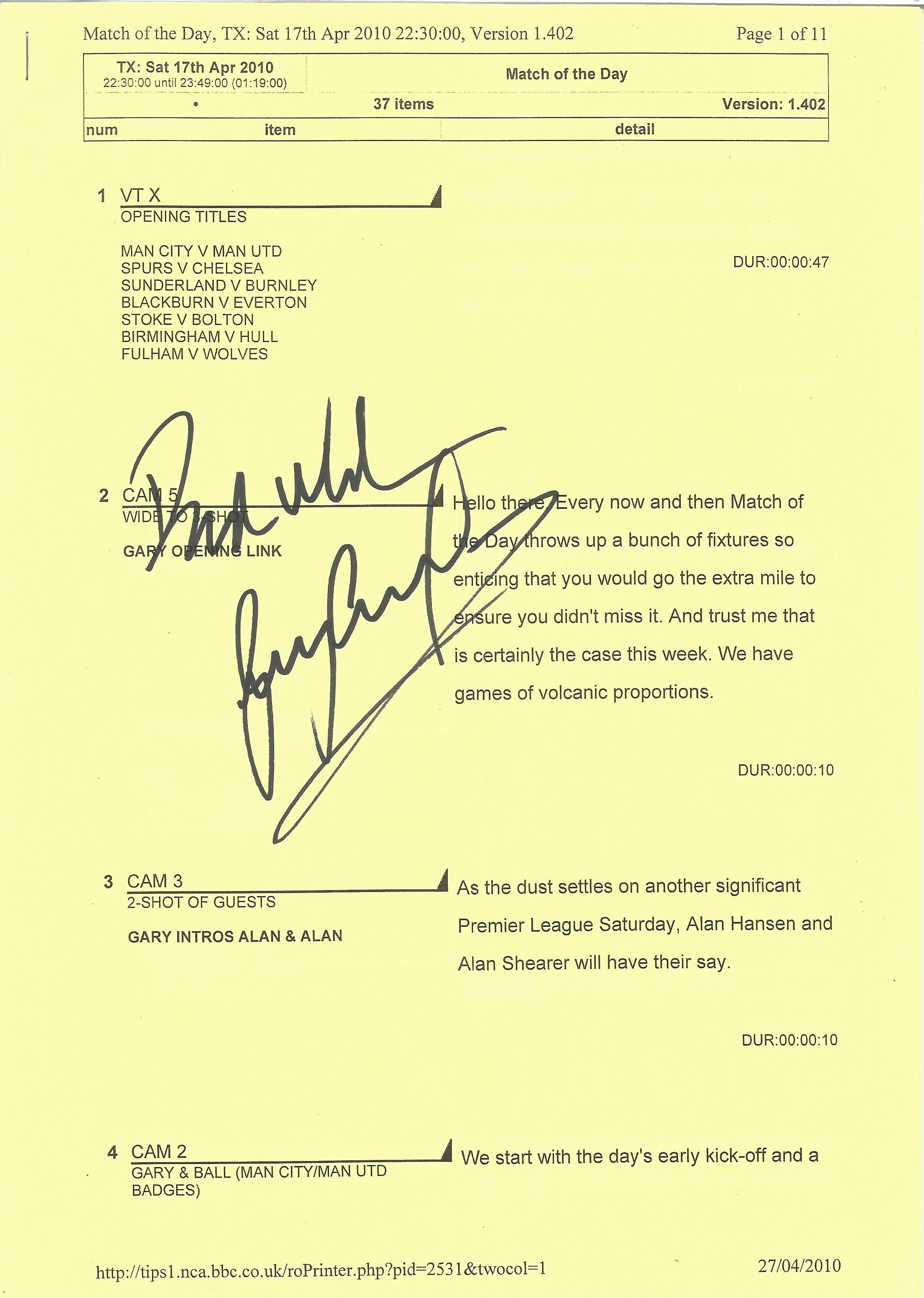 Footballer Gary Lineker signed Match of the Day script and running order for Saturday 17th April