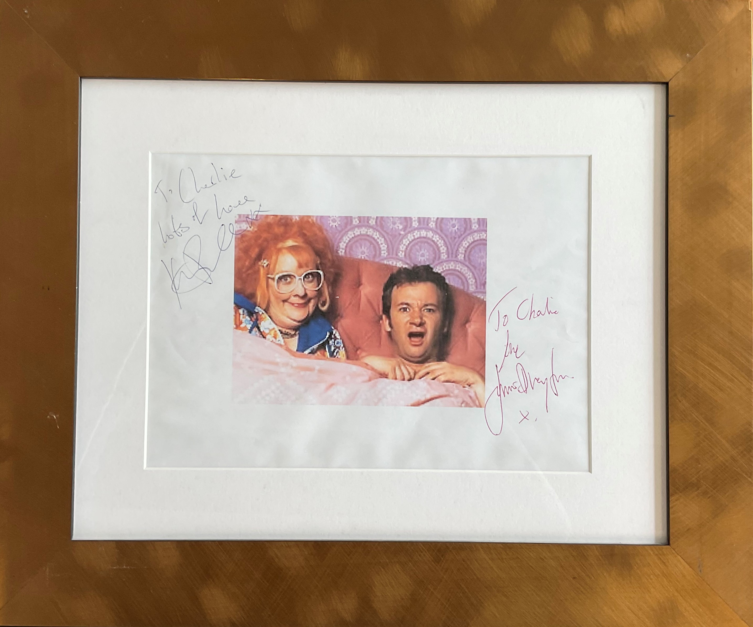 Actress Kathy Burke and Actor James Dreyfuss signed 11x8 colour image from Gimme Gimme Gimme mounted