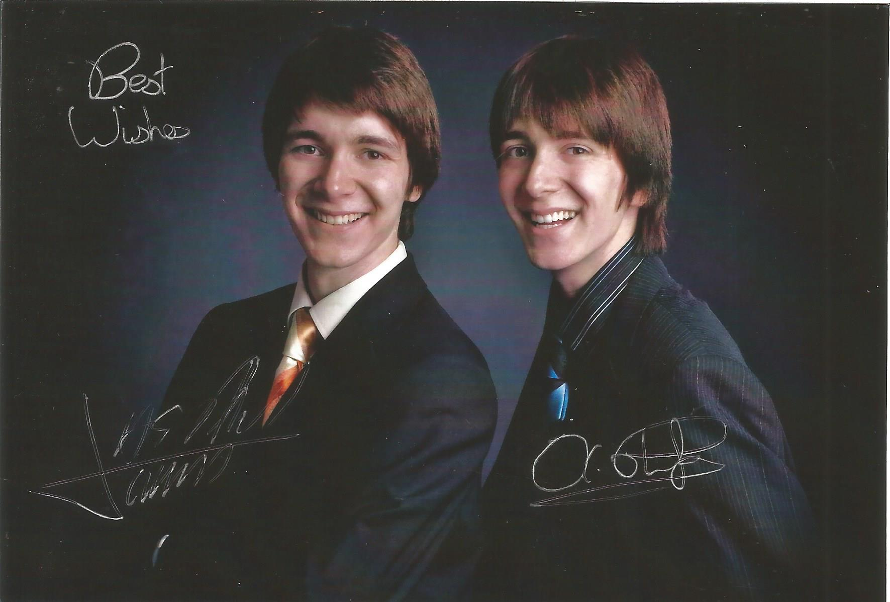 Actors James and Oliver Phelps dual signed 6x4 colour photo. Oliver Martyn John Phelps is an English