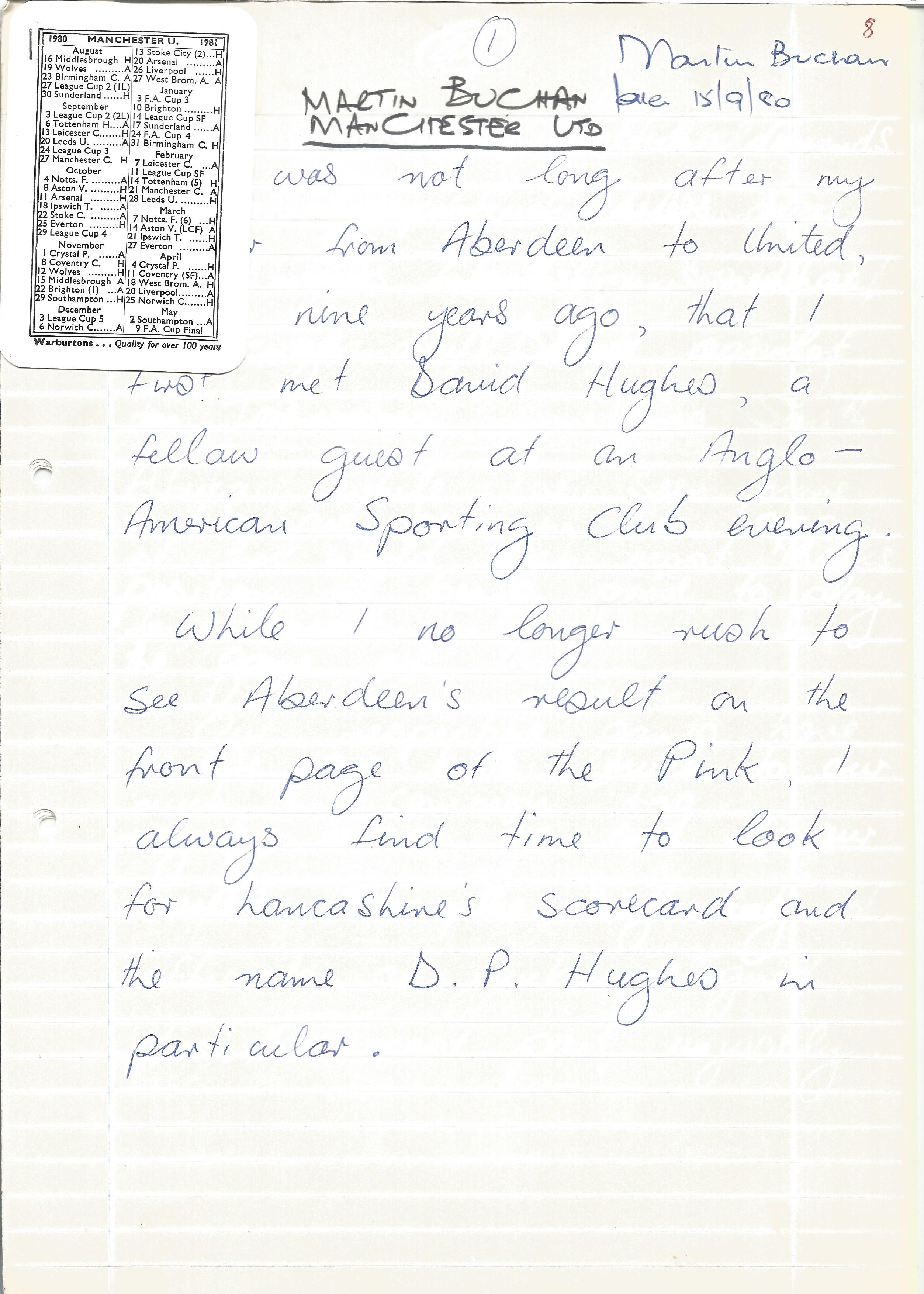 Footballer Martin Buchan, 7-page handwritten article for the testimonial brochure of Lancashire