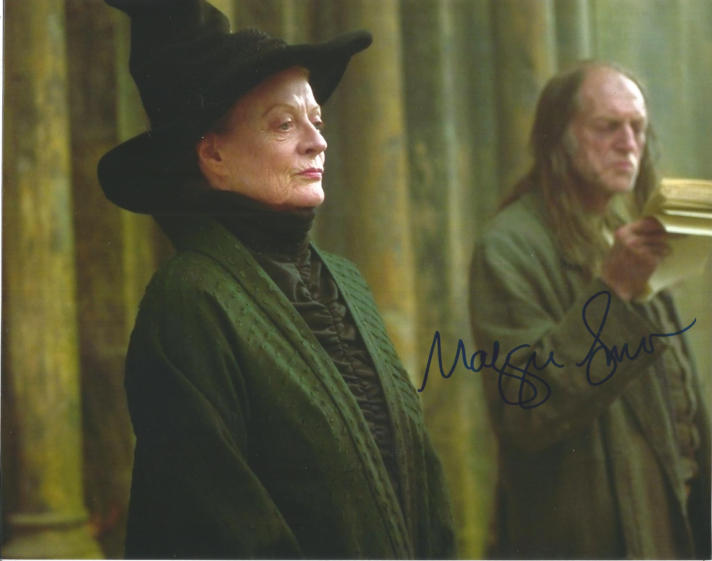 Actress Maggie Smith signed 10x8 colour photo in character as Professor McGonagall in the Harry