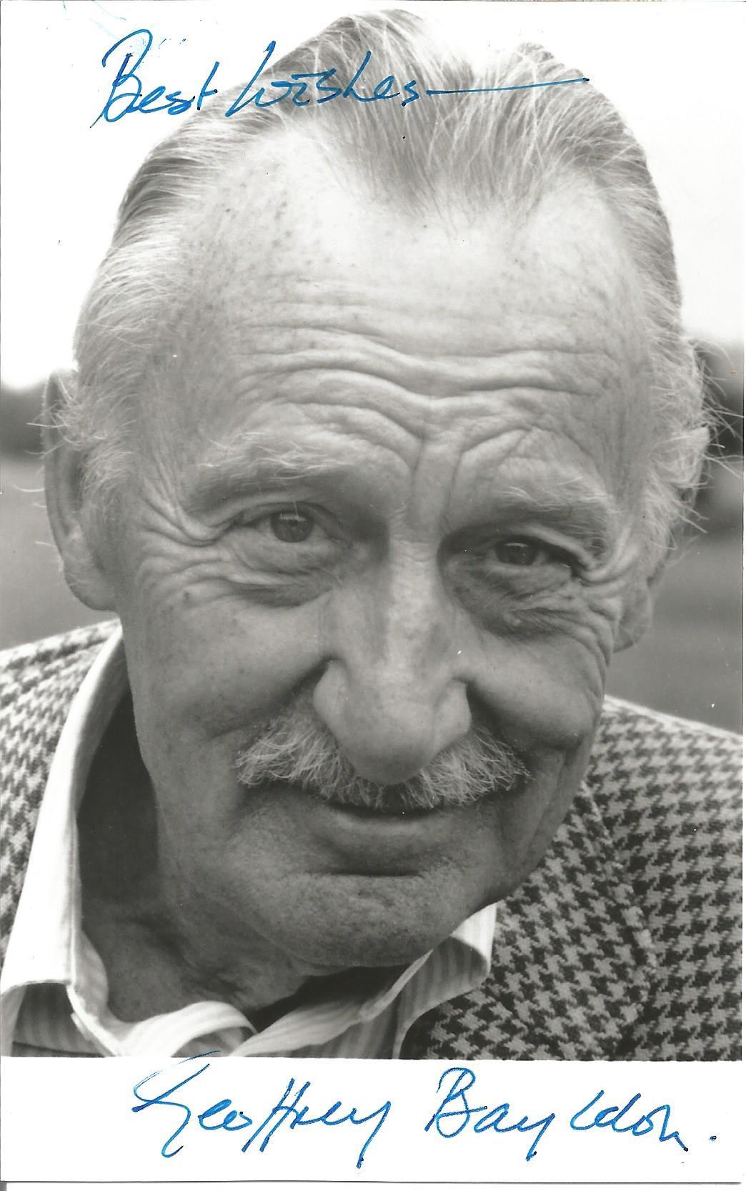 Actor Geoffrey Bayldon signed 5½x3½ black and white photo. Albert Geoffrey Bayldon was an English
