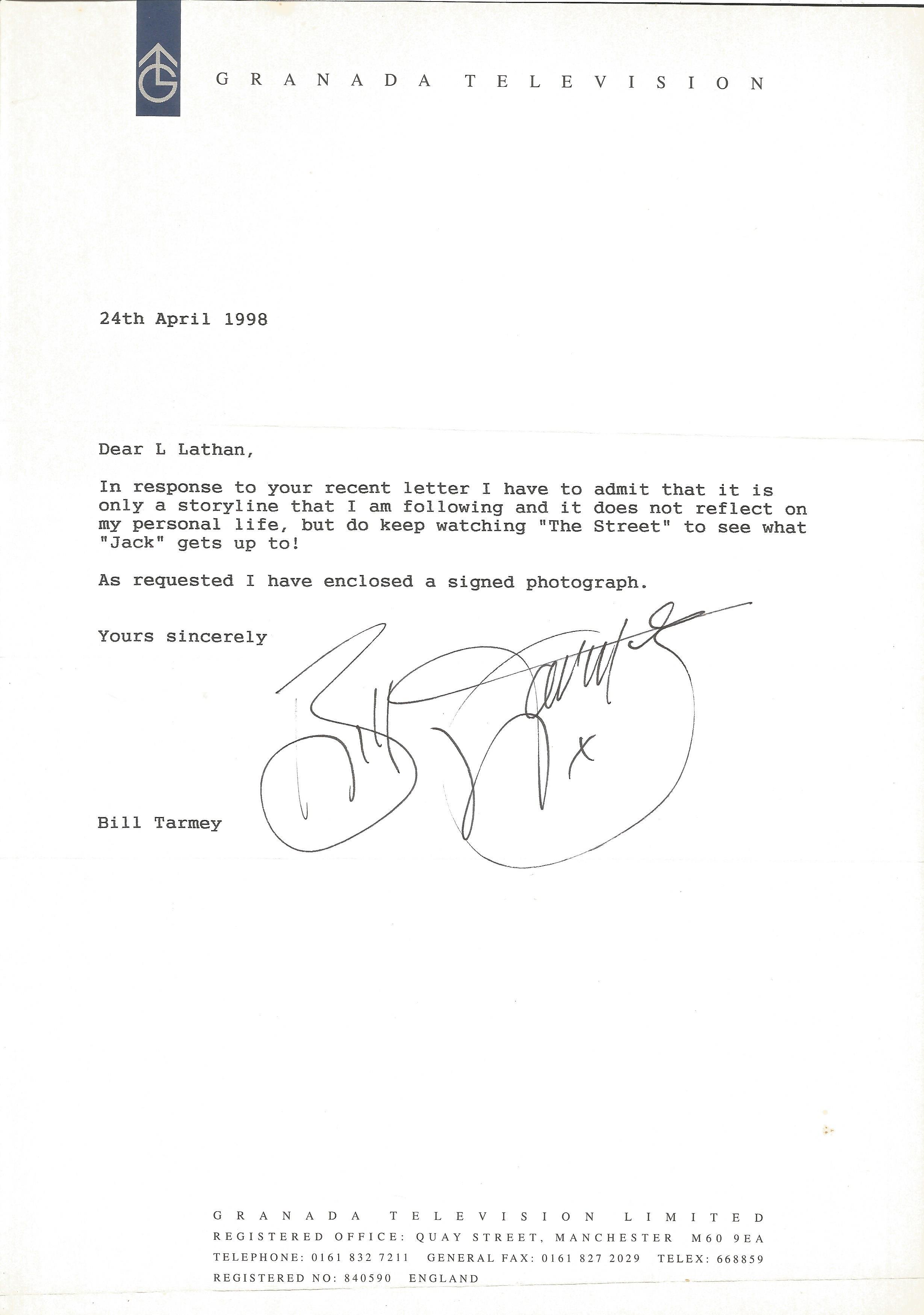 Soap Actors signed letters Andrew Larkin, Bill Tarmey, Dean Sullivan, Tracie Bennett, Isabel Home - Image 2 of 4