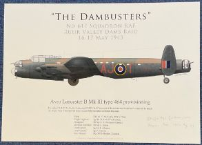 WW2 AVM Johnny Johnson Signed Gaetan Marie Print Titled The Dambusters. Signed in pencil. 16x12 in