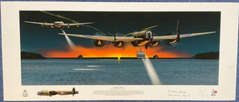 WW2 John S Fox Print Titled Midnight Attack Operation Chastise 16/17th May1943. Signed by Johnny