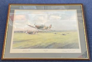 Robert Stanford Tuck Signed Robert Taylor Print. Titled Dawn Scramble. Also signed by the Artist