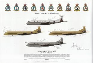 Aviation. MULTI SIGNED official Squadron Prints print Titled Nimrod The Mighty Hunter 1969 2010.