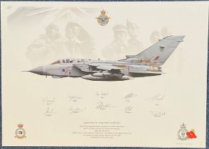 Aviation. MULTI SIGNED RAF No1 Group Panavia Tornado GR4 Quality Print. 17.5x12.5 in size. Signed by