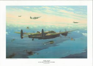 WW2 Keith Aspinall 16x12 colour Print Titled Tallboy Raid 617 Squadron Lancaster and Escorts.