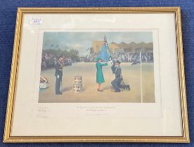 Air Chief Marshal Sir Neil Cameron Signed Frank Wootton Print. Titled Her Majesty The Queen Silver