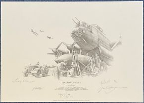WW2 Multi Signed Nicolas Trudgian pencil drawn Print titled Operation Catechism. Signed by 617