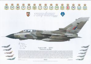Aviation. 16.5x11.5 Squadron Prints Titled Farewell to the Fin Tornado GR4 ZG752. Signed by