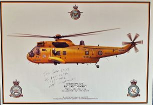 Pilot Tony Gear Signed Print. Titled Commemorating the Return to Moray WS61 Sea King Helicopter HAR3