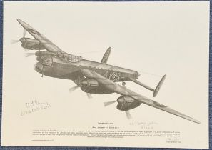 WW2 Wg Cmdr Johnny Johnson and one other Signed Brian Fare pencil drawn Print Titled Operation
