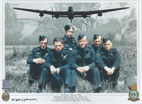 WW2 Johnny Johnson DFM hand signed RAF Colour Montage photo. Photo shows 6 members of Dambusters 617