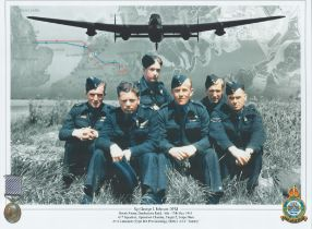 WW2 Sgt George L Johnson DFM RAF Colour Montage photo. Photo shows 6 members of Dambusters 617