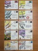 10 RAF Flown covers. 2 Signed covers. The sparrowhawks FDCs signed by Brigadier P E Collins Lt S