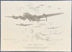 WW2 617 Squadron Multi Signed Nicolas Trudgian Printed pencil drawing Titled En Route To The