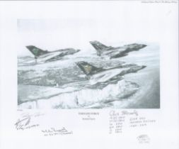 Aviation. Richard Taylor Pencil Drawn Print Titled Tornado Force 13x11 in size MULTI SIGNED by