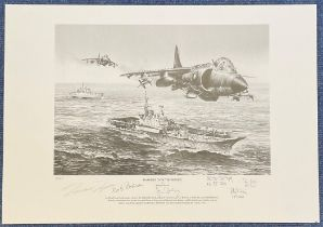 Richard Taylor Pencil Drawn Print Multi Signed by Harrier Fighter Pilots from Falklands War Print