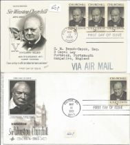 WW2 Collection of 2 Sir Winston Churchill FDCs Unsigned with stamps dated May 13th 1965. Est.