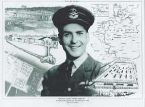 WW2 Squadron Leader Jimmy James MC Black and White Montage Photo. 16x12 in size. James was