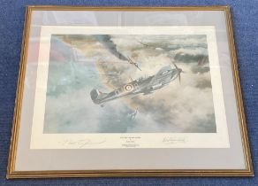 Robert Stanford Tuck Signed Robert Taylor Print. Titled Victory Over Dunkirk. Also signed by the
